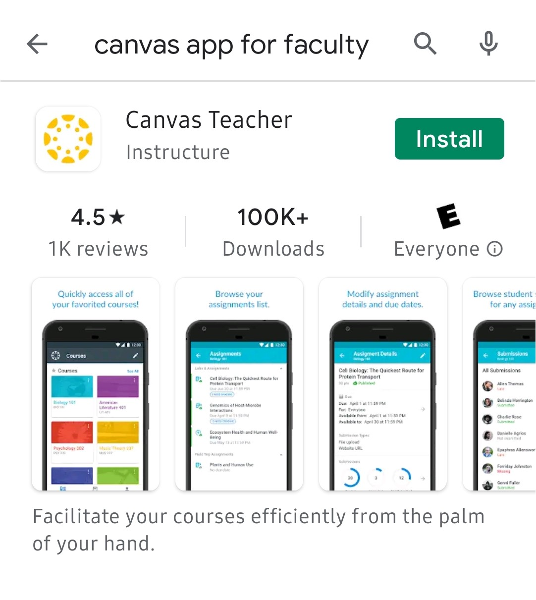 Screenshot of the Canvas Teacher app for Android