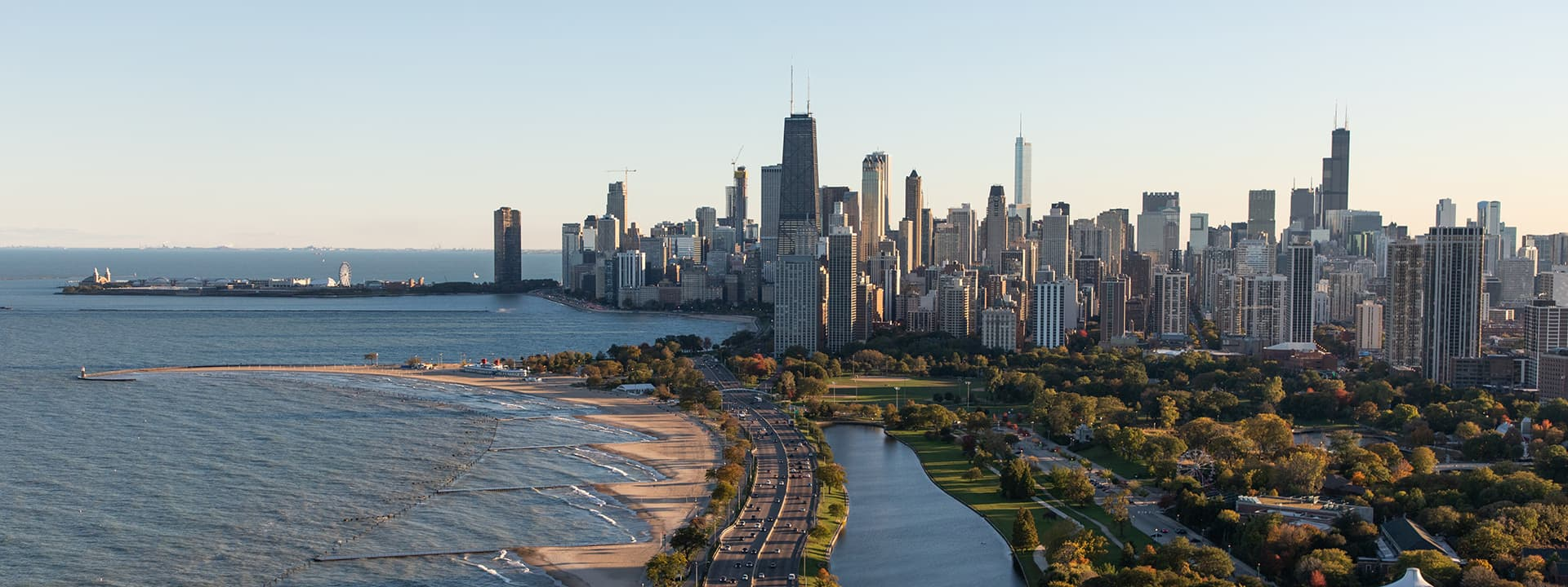 Aerial view of Chicago skyline