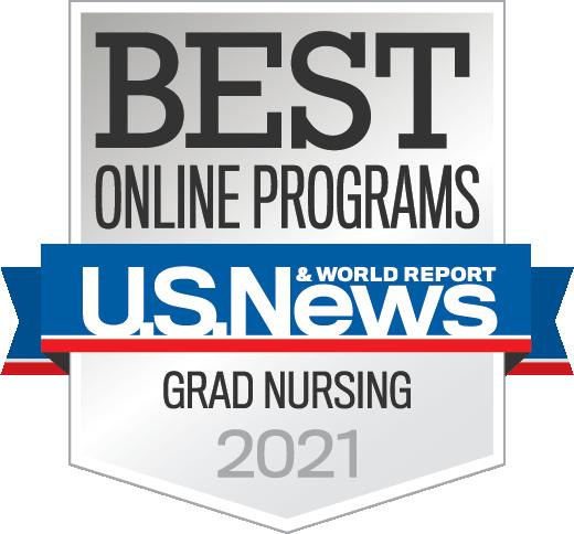 U.S. News Best Online Programs badge - Grad Nursing 2021