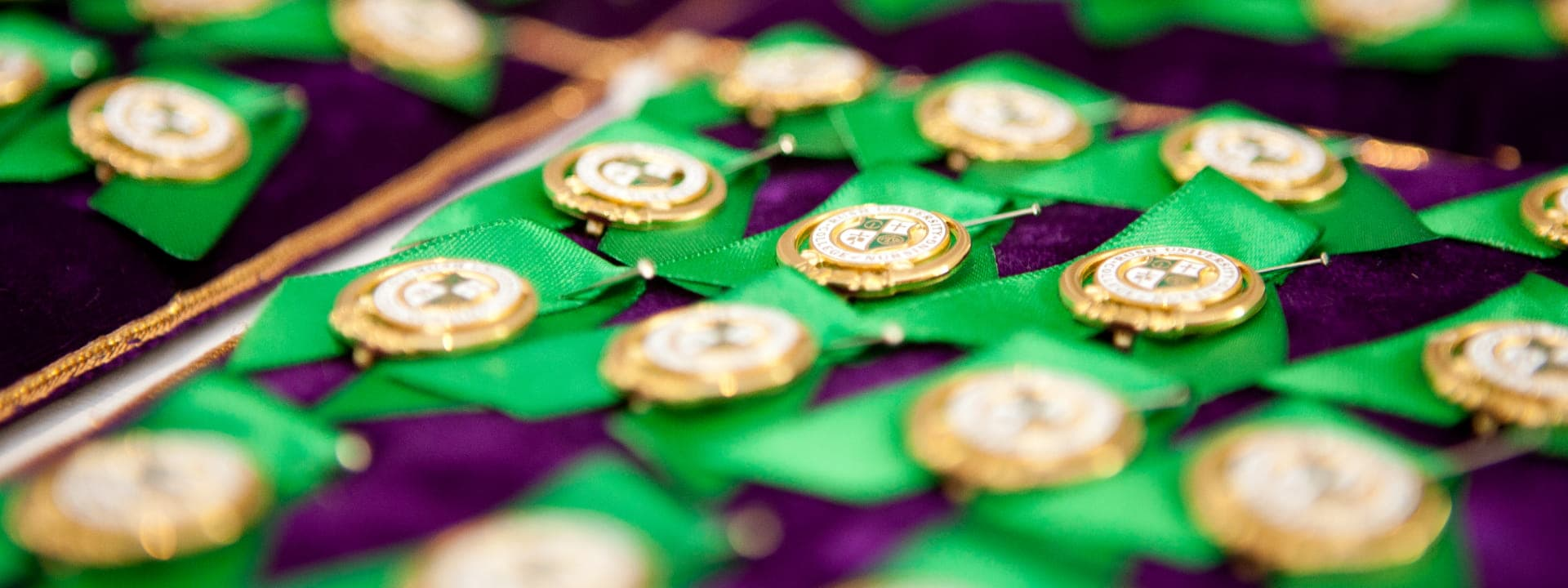 Close-up of pins at convocation ceremony