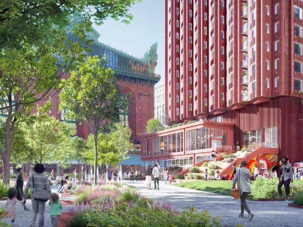Artist rendering of Plymouth Court with new buildings and pedestrians walking through a park