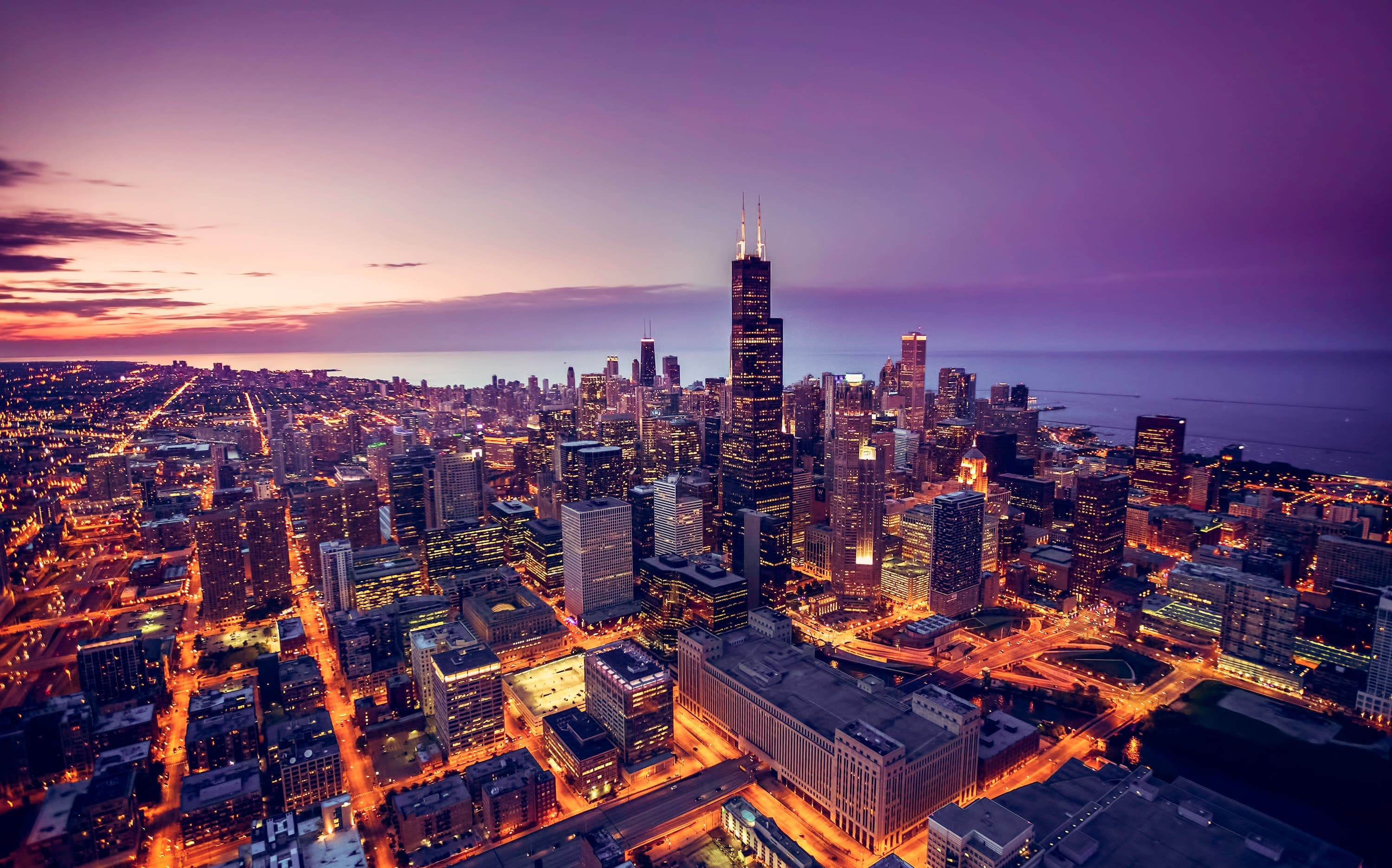 A night time view of the city of Chicago sky line