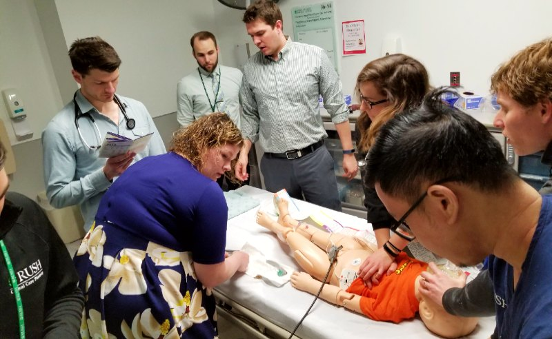Fellows in emergency simulation lab