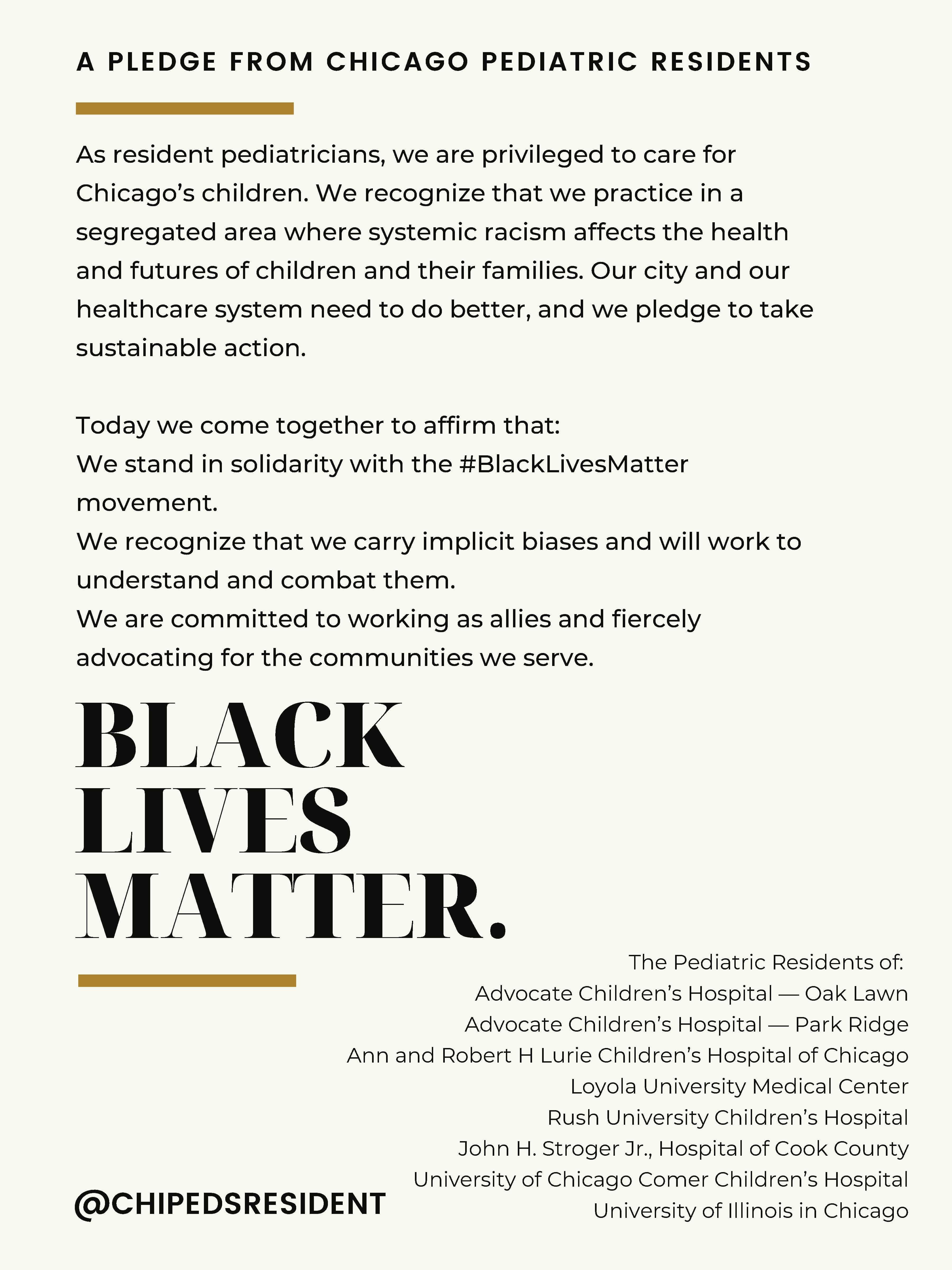 Black Lives Matter: Pediatric Residents Pledge