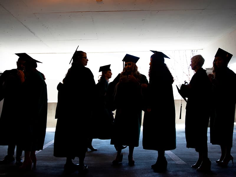 A group of Rush students at commencement