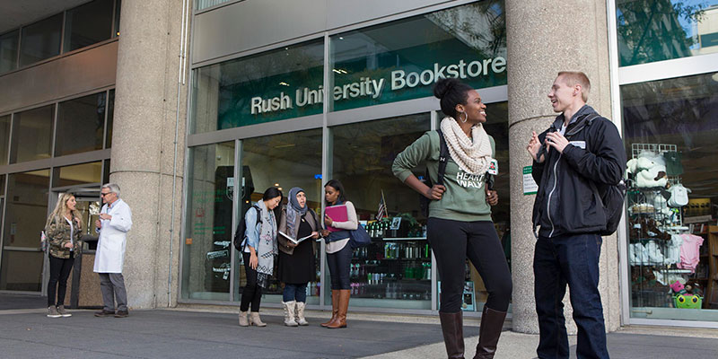 Students outside Rush University bookstore