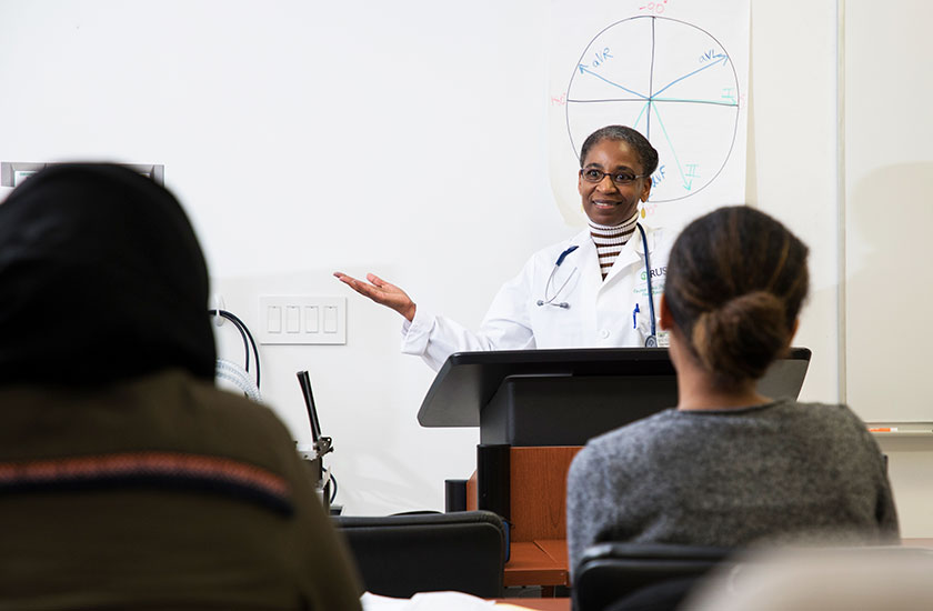 Professor teaching an allied health course