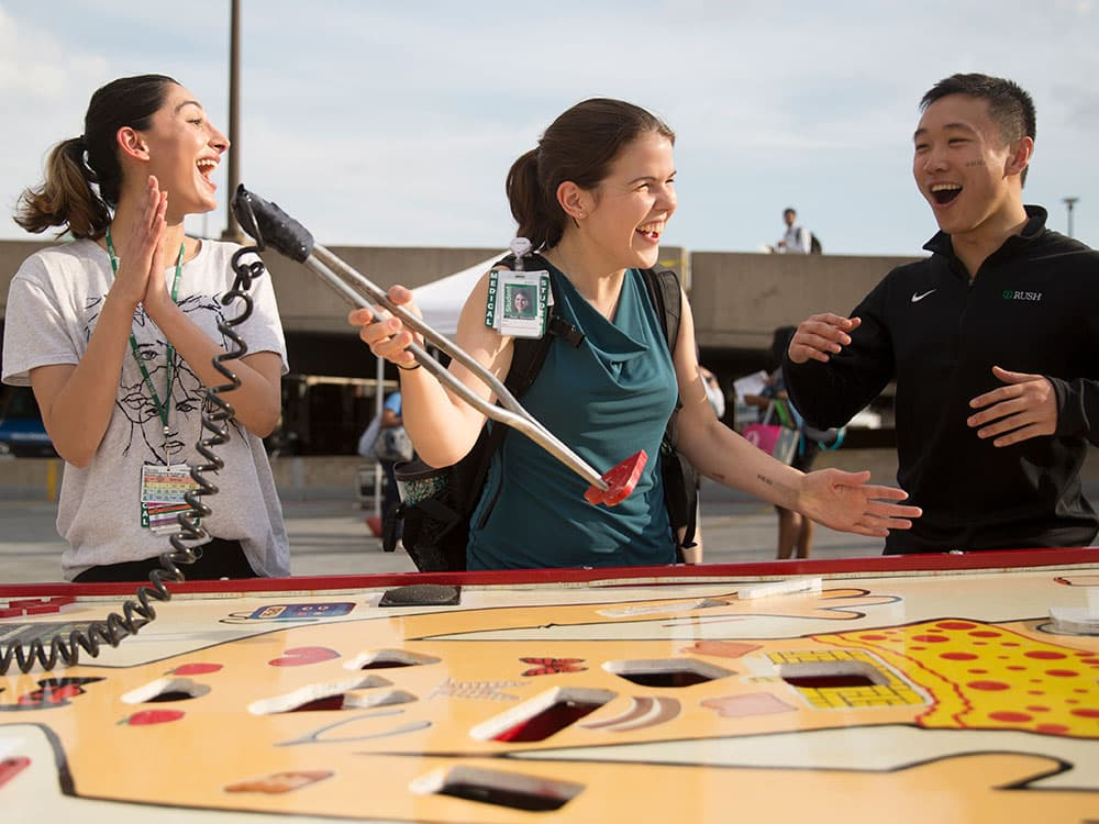 Students playing games at the Back to School bash