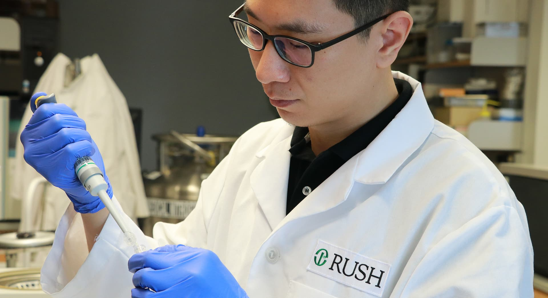 Rush researcher working in a lab