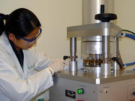 tribology lab reseacher working
