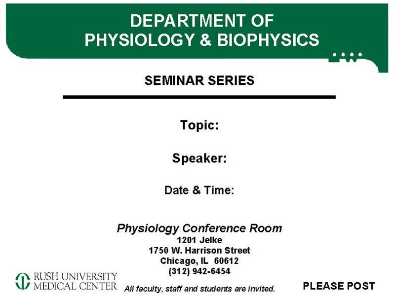 Department of Physiology & Biophysics seminar series - Physiology Conference Room
