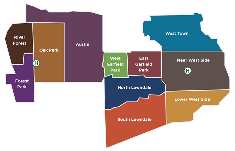 Map of Chicago's west side