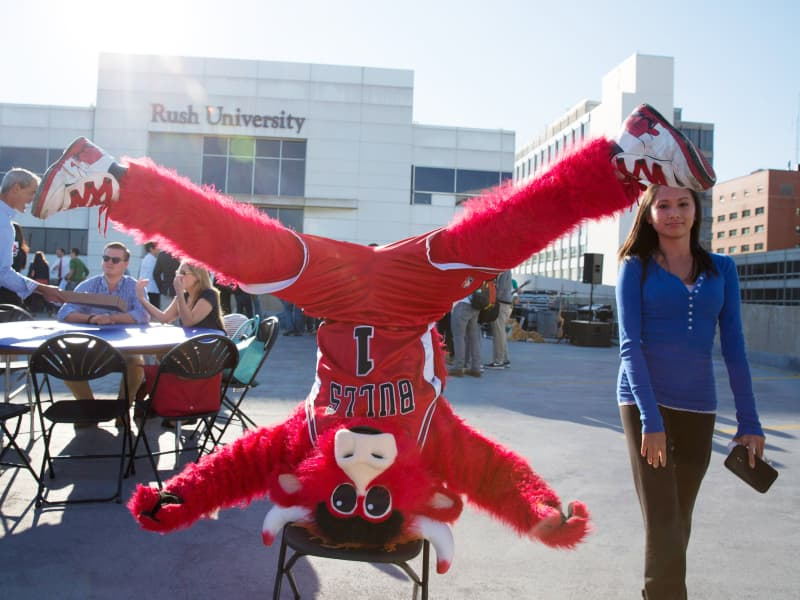 The Benny the Bull mascot does a headstand on a chair