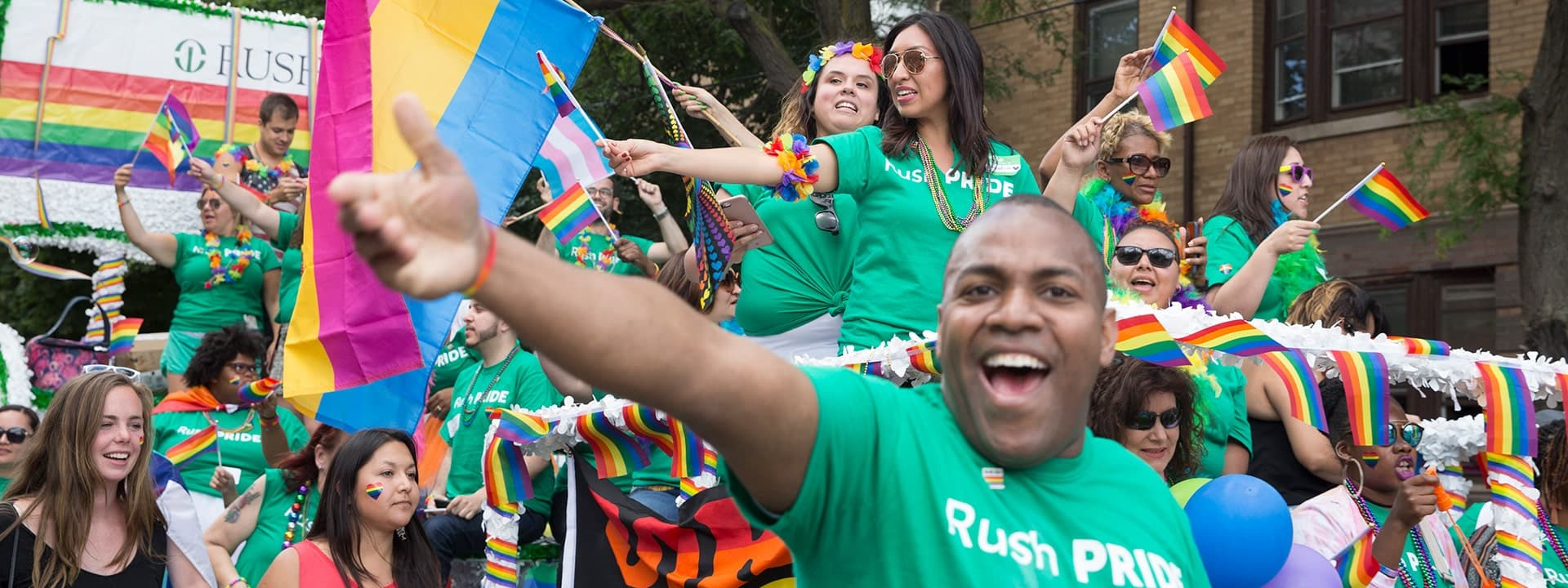 Rush students, staff and faculty at a Pride parade