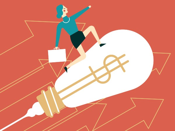Illustration of a woman in business attire standing on a light bulb flying upward