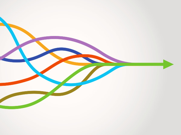 A series of colorful lines merging into one arrow