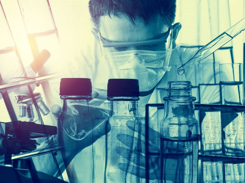 Researcher working in a lab.