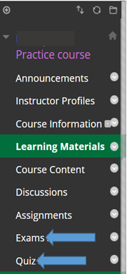 Menu in the Blackboard software