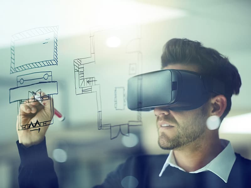 A man using augmented reality