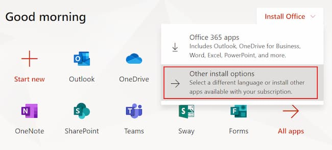 Guide for installing Microsoft Office