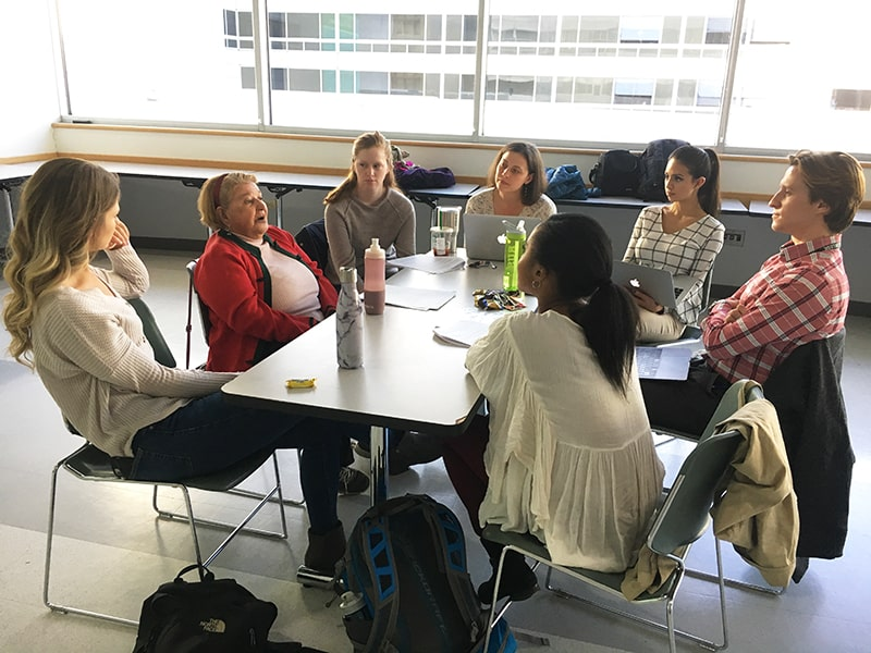 Interprofessional students working with a Community Health Mentor