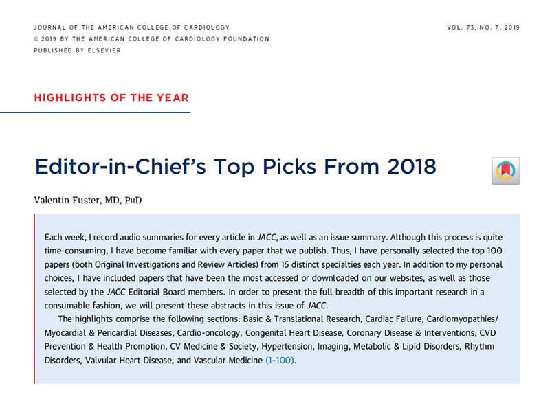 2018 JACC Editor Top Picks