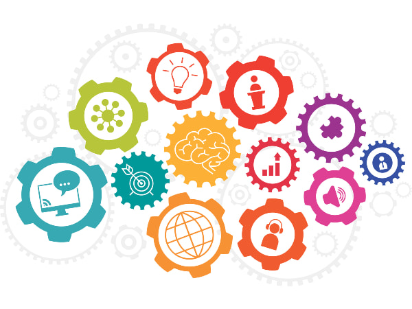 A series of interlocking gears with colorful icons representing ideas and information